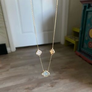 Gold Sterling Silver mother of pearl necklace
